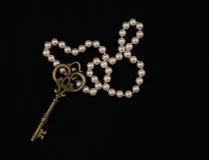 葡萄酒在黑背景的金属钥匙 免版税库存照片