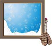 葡萄酒垂悬在多雪的窗口旁边的被编织的手套 库存照片