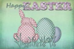 葡萄酒复活节卡片用光点图形鸡蛋和兔子 免版税库存图片