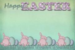 葡萄酒复活节卡片用问候和光点图形鸡蛋和rab 免版税库存图片
