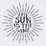 葡萄酒太阳与文本的光设计太阳相同在边方面 库存例证