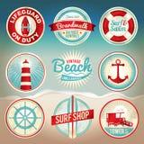 葡萄酒海滩标签和徽章 免版税图库摄影