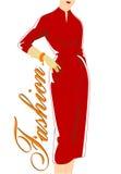 葡萄酒妇女方式剪影红色礼服的 免版税库存图片