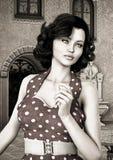 葡萄酒妇女 免版税库存图片