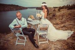 葡萄酒婚礼。 免版税库存图片