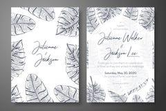 葡萄酒婚礼与热带叶子的邀请模板 报道卡片的设计,婚姻邀请,保存日期 图库摄影