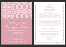 葡萄酒婚礼邀请与装饰品的卡片邀请 库存例证