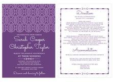葡萄酒婚礼邀请与装饰品的卡片邀请 免版税库存照片