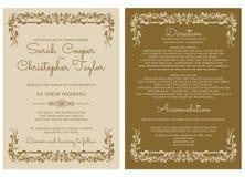 葡萄酒婚礼邀请与装饰品的卡片邀请 图库摄影
