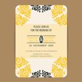葡萄酒婚礼邀请卡片 库存例证