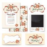 葡萄酒婚礼邀请设计集合包括邀请卡片,结婚,谢谢拟订,制表数字,照片框架 皇族释放例证