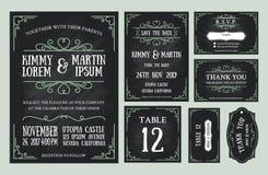 葡萄酒婚礼邀请黑板设计集合 库存图片