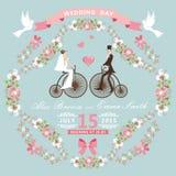 葡萄酒婚礼邀请 花卉框架,新娘, gr 图库摄影