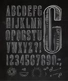 葡萄酒字体在白垩上写字 免版税库存图片