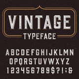 葡萄酒字母表与困厄的覆盖物纹理的向量字体 免版税图库摄影