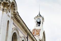 葡萄酒室外时钟在索非亚,保加利亚 库存照片