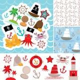 葡萄酒小块船舶卡片和无缝的样式与海洋动物,小船海盗 逗人喜爱的海反对汇集 向量 免版税图库摄影