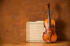 葡萄酒小提琴和行李 库存图片