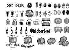 葡萄酒工艺啤酒啤酒厂象征,标签和设计元素传染媒介 库存照片