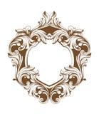 葡萄酒巴洛克式的框架心脏形状卡片传染媒介 详细的富有的装饰品例证图表线艺术 库存例证