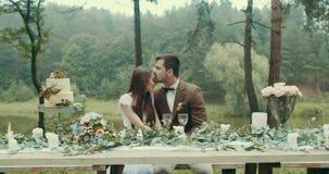葡萄酒布料的英俊的人轻轻地亲吻他的头的恋人在日期期间在他们坐在桌上的有雾的森林里 股票录像