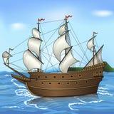 葡萄酒帆船在海 免版税库存图片