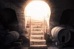 葡萄酒库导致往明亮的光的石头台阶 免版税库存照片