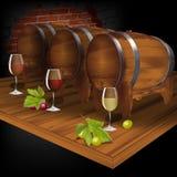 葡萄酒库用从桶的酒 免版税库存照片