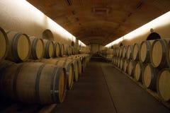 葡萄酒库的内部射击有酒小桶和桶的 免版税库存照片