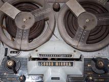 葡萄酒开盘式音频用磁带为录音的细节 免版税库存照片