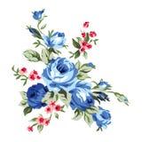 葡萄酒彩色印花布花设计和装饰元素 免版税图库摄影
