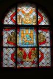 葡萄酒彩色玻璃大厅 免版税库存照片