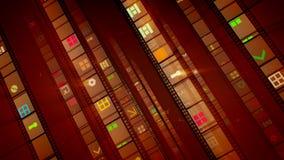 葡萄酒影片磁带四条棕色线  向量例证