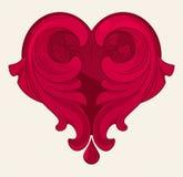 葡萄酒心脏装饰品 免版税库存图片