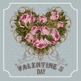 葡萄酒情人节与玫瑰和心脏的贺卡 免版税图库摄影