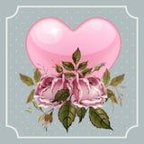 葡萄酒情人节与玫瑰和心脏的贺卡 库存照片