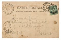 葡萄酒手写的明信片信件 半新纸纹理 免版税库存图片