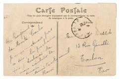 葡萄酒手写的明信片邮件 半新纸纹理 免版税库存照片