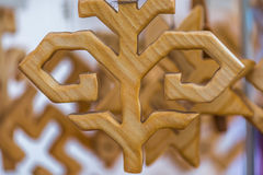 葡萄酒手工制造木装饰 免版税库存图片