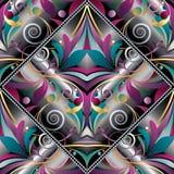 葡萄酒手拉的佩兹利无缝的样式 五颜六色的传染媒介flo 免版税库存图片