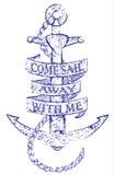 葡萄酒手拉的华丽船锚例证 免版税图库摄影