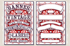 葡萄酒手拉的图表横幅和标签 库存图片