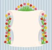 葡萄酒手拉的郁金香的横幅 库存图片
