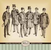 葡萄酒手拉的绅士集合 免版税库存照片
