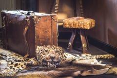 葡萄酒手提箱和豹子皮肤 旅行和冒险概念 图库摄影