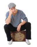 葡萄酒手提箱的哀伤的等待的新男性记录 免版税图库摄影
