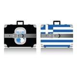 葡萄酒手提箱设置与希腊旗子例证 图库摄影