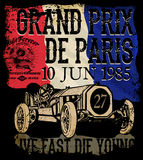 葡萄酒打印的赛车 传染媒介守旧派种族海报 库存图片