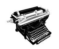 葡萄酒打字机手拉的剪影在白色背景在黑色的隔绝的 详细的葡萄酒蚀刻样式图画 皇族释放例证