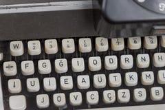 葡萄酒打字机详细机器特写镜头 库存图片